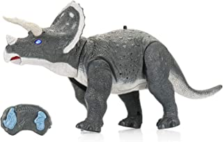 SainSmart Jr. Remote Control Dinosaur Robot Toy 2-in-1 Electronic Walking Dinosaur with Sound, Infrared Control Roaring Dino for 3+ Kids, Triceratops