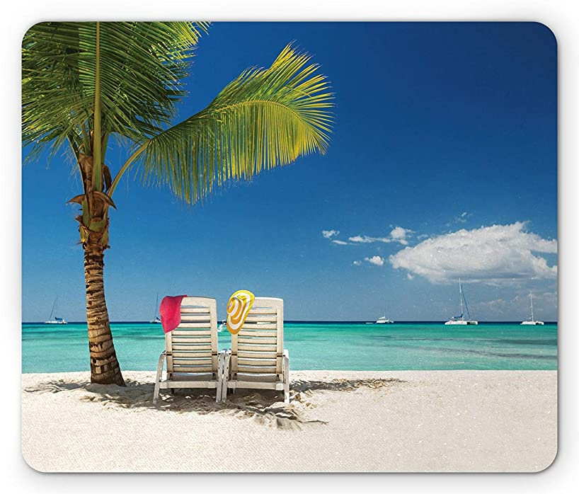RS-pthrA2 Seaside Mouse Pad, Relaxing Scene on Remote Beach with Palm Tree, Chairs and Boats Panoramic Picture, Standard Size Rectangle Non-Slip Rubber Mousepad, Blue Green