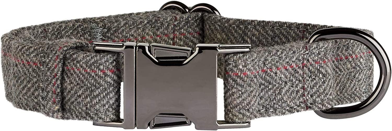Thoroughbeds Dark Grey Herringbone Tweed Dog Collar Choice of Size