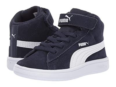 Puma Kids Smash V2 Mid Velcro (Toddler) (Peacoat/Puma White) Boys Shoes