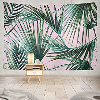 ONELZ Decor Collection, Tropical Palm Leaves Leaves Floral Tropic Palm Pink Leaf Beach Tree Green Hawaii Bedroom Living Room Dorm Wall Hanging Tapestry 50 L X 60 W Polyester Polyester Blend