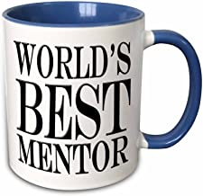 3dRose Worlds Best Mentor Two Tone Mug, 11 oz, Multicolor