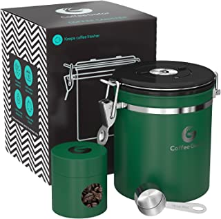 Coffee Canister - Coffee Gator Stainless Steel Coffee Container - Fresher Beans and Grounds for Longer - Date-Tracker, CO2-Release Valve, Measuring Scoop and Travel Jar - Medium, Green