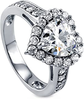 BERRICLE Rhodium Plated Sterling Silver Heart Shaped Cubic Zirconia CZ Halo Engagement Ring 2.43 CTW