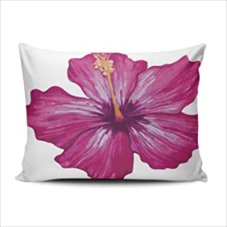 AIHUAW Home Decorative Cushion Covers Throw Pillow Case Watercolor Tropical Hibiscus Flower Standard 20x26 Inches One Sided Printed (Set of 1)