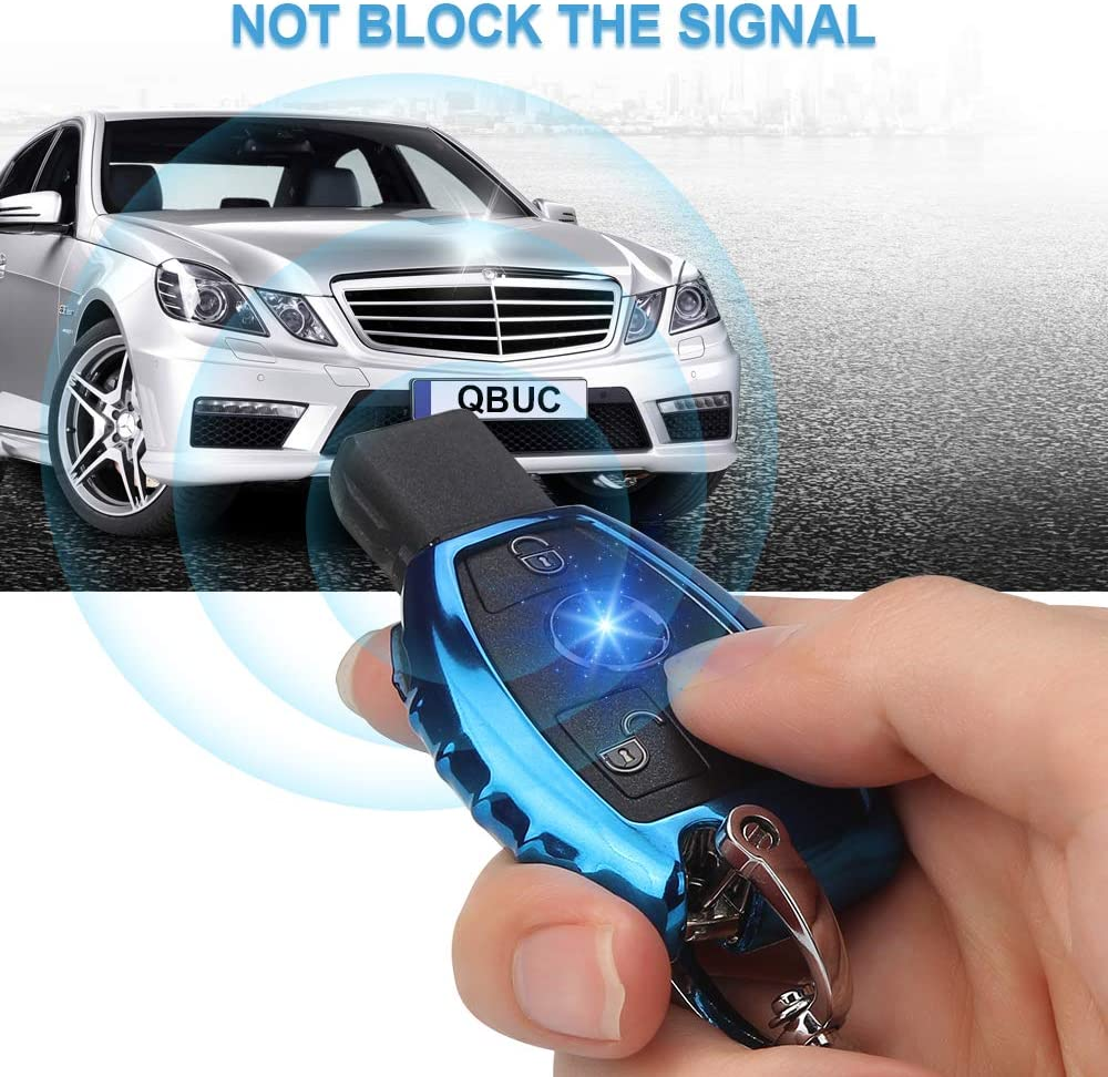 QBUC Car Key Fob Cover,Soft TPU Key Case Key Shell Cover Protector with Keychain Compatible with C E S M CLS CLK G Class Keyless Smart Key Fob Sliver