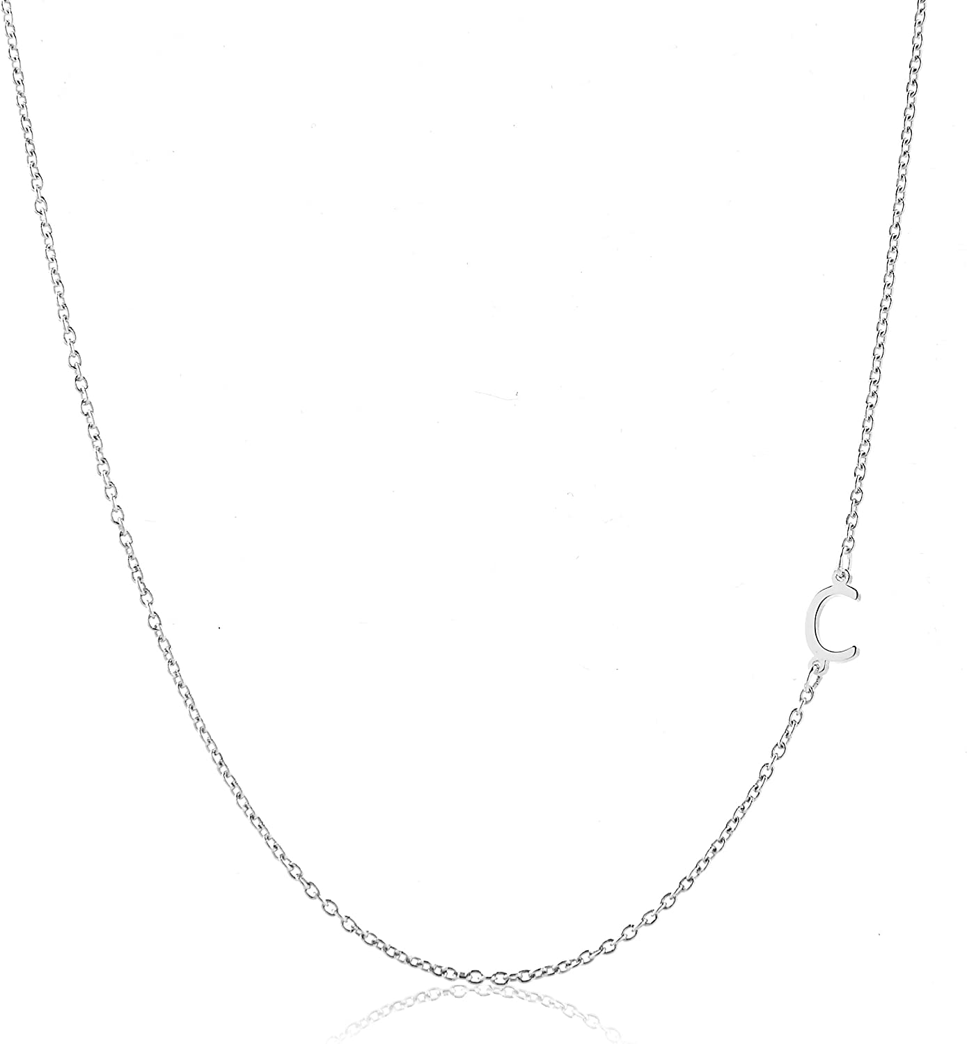 Deidreamers Sterling Silver Side Mini Initial Necklace C