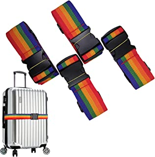 Luggage Strap, Suitcase Strap Travel Belts Accessories Adjustable Bag Bungee 4 Pcs (Colorful)