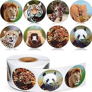 ملصق حيوانات واقعي من فيمينا سولا بنمط حيوانات حيوانات سفاري غابة 500 قطعة لكل لفة للأطفال