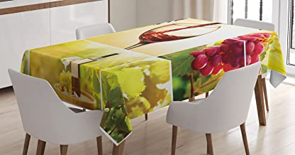 Ambesonne Wine Tablecloth, Habitat Collage with Pouring Wine Bottle and Leaves Farm Harvest Time in Autumn Village, Rectangular Table Cover for Dining Room Kitchen Decor, 60