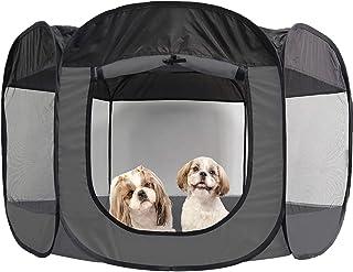 Furhaven Pet Playpen | Indoor/Outdoor Mesh Open-Air Playpen & Exercise Pen Tent House Playground for Dogs & Cats, Gray, Ex...
