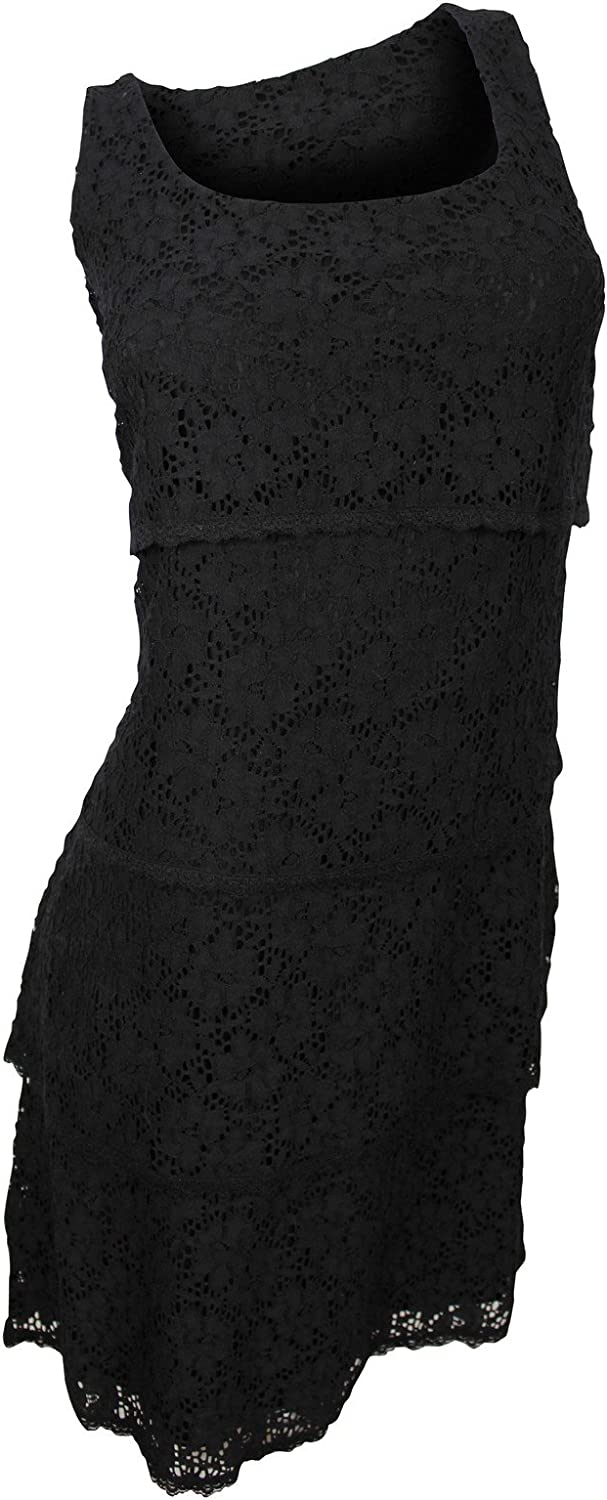 Laundry Women's Black Floral Lace Tiered Dress