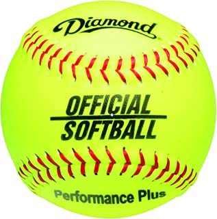 Diamond 12-Inch Synthetic Optic Cover Softball, Cork Core, Dozen