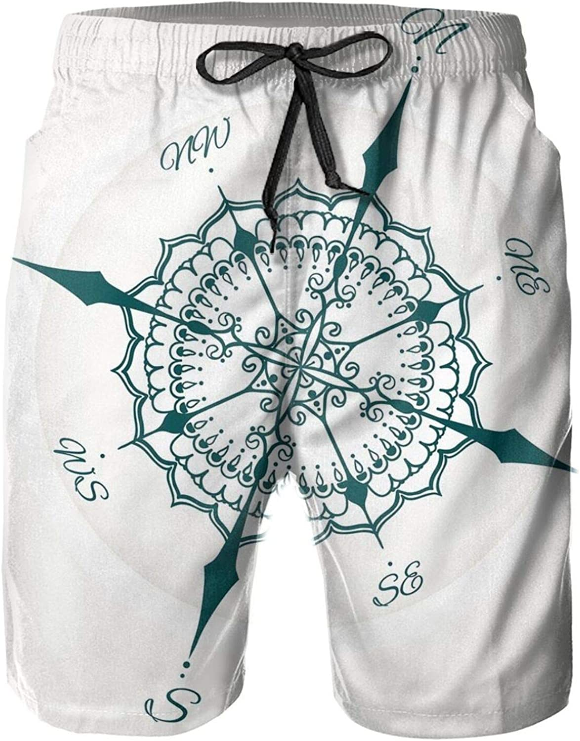 Hand Drawn Compass with Floral Arrangement Design Compass Boating Theme Print Style Mens Swim Trucks Shorts with Mesh Lining,XL