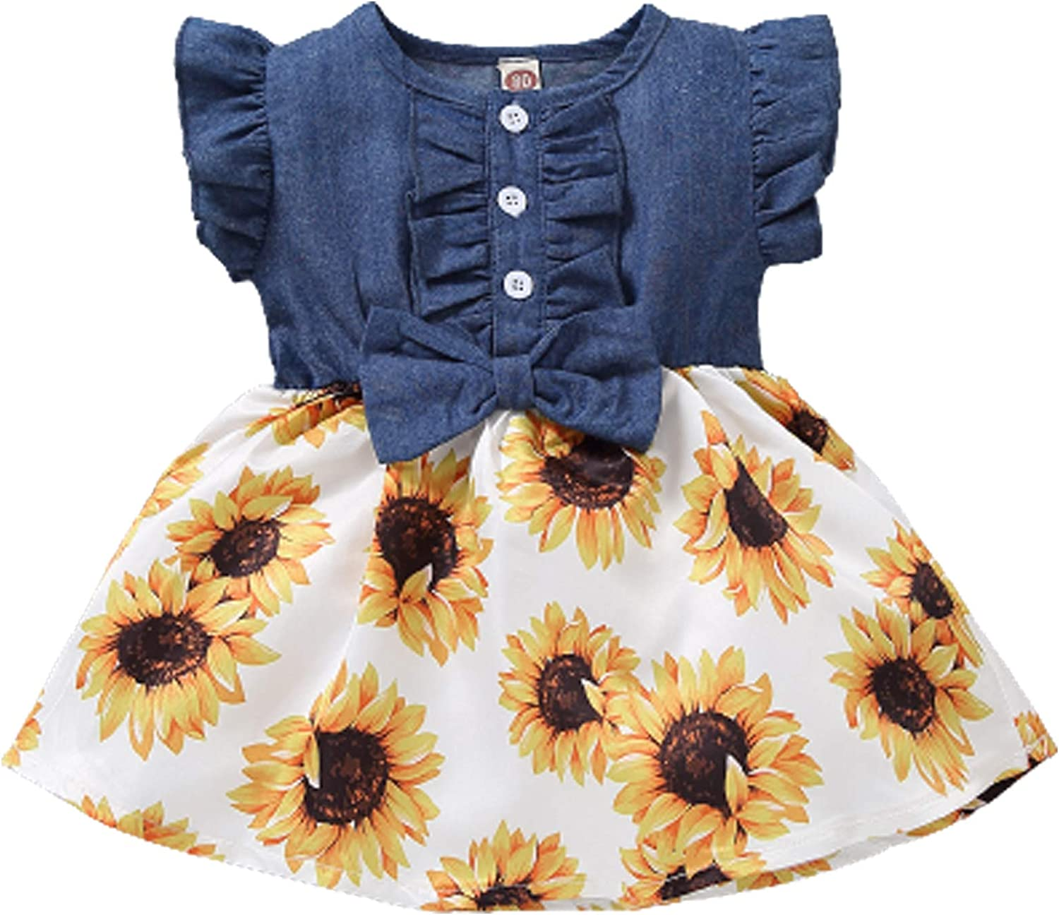 Toddler Girl Outfits Baby Sunflower Low price Denim Princess Summe Year-end annual account Dresses