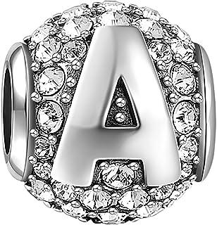 SOUFEEL Charm Beads for Bracelet 925 Sterling Silver Birthstone Charms Stoppers A-Z Alphabet Letter for European Bracelets...