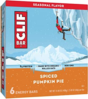 CLIF Bar Spiced Pumpkin Pie Energy Bars 2.4oz x 6 bars(total 14.4oz), pack of 1