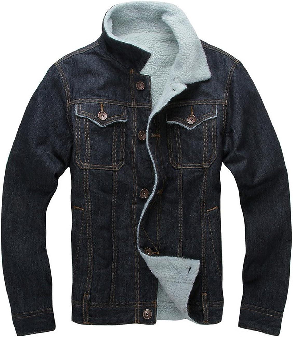 DSDZ Men's Winter Fleece Lined Denim Jackets Warn Jean Coats Outwear