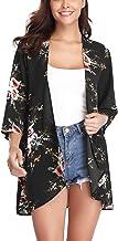 Aibrou Mujer Chal Flojo Cárdigan Kimono Florales, Manga 3/4 Tops Blusa Floral Suelta Casual Boho Style Capas