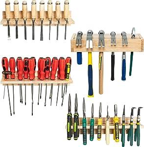 T-SIGN Screwdriver Organizer - Wood Tool Organizers, Hammer Rack, Wooden Pliers Holder, Wall Mounted Hand Tool Storage, Set of 4 Tool Holder Organizer for Workshop, Workbench, Yard, Garden, Natural