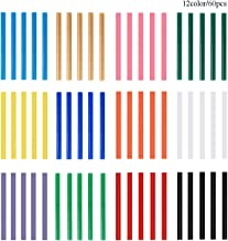 Colored Hot Glue Sticks, Baffo 12 Colors 60PCS EVA Mini Size Color Hot Melt Adhesive Glue Colorful Sticks for DIY Art Craft, General Repairs and Gluing Projects,Diameter 0.28 inch,Length 3.9 inch