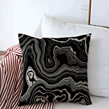 Pillow Case Pattern Gray Mineral Wide Black Onyx Slice Agate Precious Nature Stone Arabic Aragonite Band Design Farmhouse Decorative Throw Pillows Covers 18