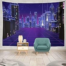 Summor Tapestry Retro Futuristic Skyscraper City Digital Landscape World Music Album Hanging Tapestries 60 X 80 Inch Wall Hanging Decor for Bedroom Livingroom Dorm
