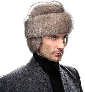 Men's Genuine Mink Fur Russian Cossack Hat Caps