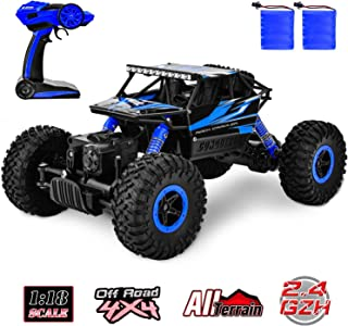 Flywind RC Car Off Road Remote Control Car Monster Vehicle 4WD 1: 18 Scale All Terrain Remote Control Truck 2.4Ghz Radio Controlled Climbing Racing Crawler Toys for Boys Kids Adults Gifts Blue