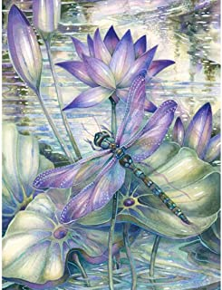 Diamond Painting Kits for Adults Kids, 5D DIY Dragonfly & Lotus Diamond Art Accessories with Round Full Drill for Home Wall Decor - 11.8×15.7Inches