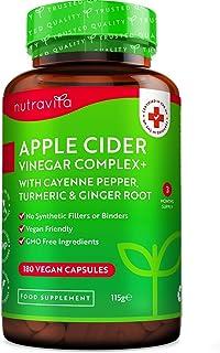 Complejo de vinagre de sidra de manzana - 180 cápsulas veganas - Puro, Crudo, sin Filtrar - con ...