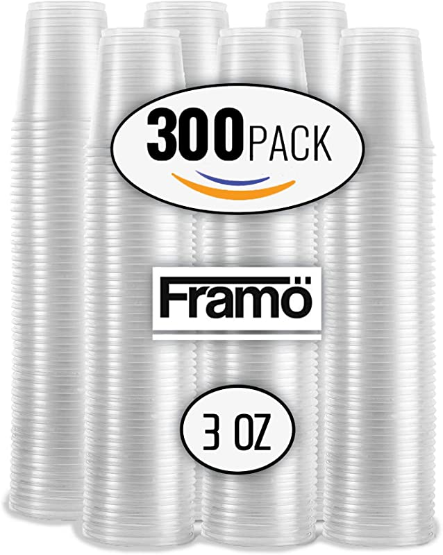 3 Oz Clear Plastic Cups By Framo For Any Occasion BPA Free Disposable Transparent Ice Tea Juice Soda And Coffee Glasses For Party Picnic BBQ Travel And Events 300 Count