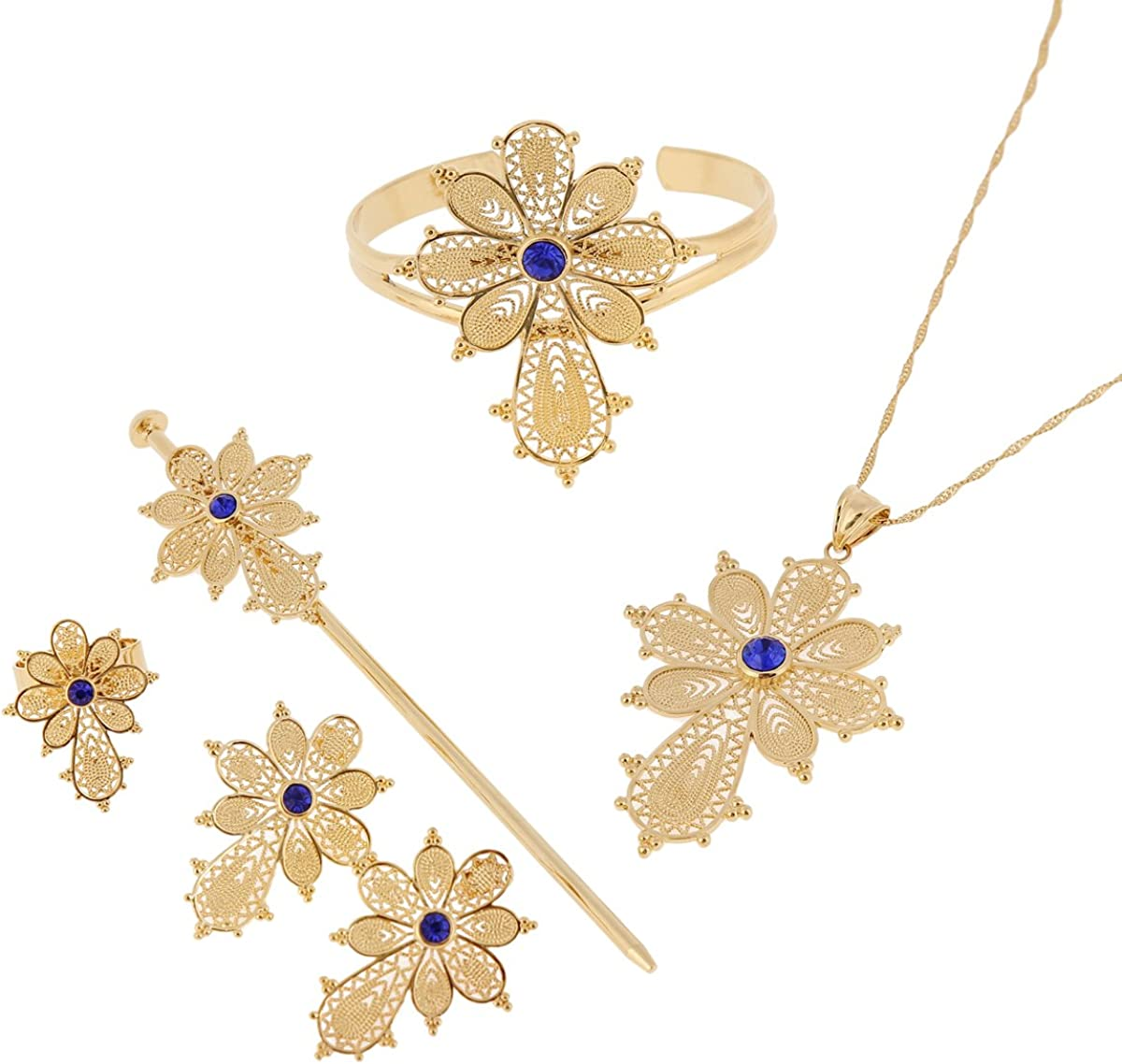 Newest Ethiopian Cross Necklace Pendant Bangle Earring Ring Hairpin Set 24k Gold Plated Habesha Jewelry Sets