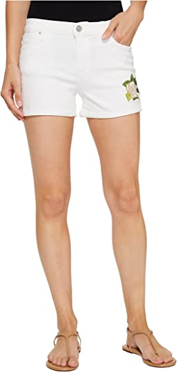 Hudson Asha Mid-Rise Cuffed Shorts in Embroidery Floral White