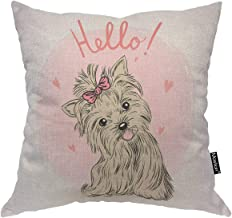 Moslion Dog Decorative Pillow Case Cute Animal Puppy Girl Love Heart Bow Tie Throw Pillow Cover Square Accent Cotton Linen Home 18x18 Inch Brown Pink