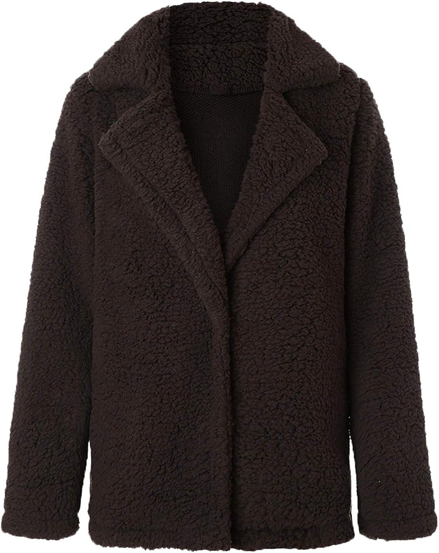 Andongnywell Women Long Sleeve Casual Lapel Fleece Fuzzy Faux Shearling Warm Winter Jackets Granulated Fleece Coat