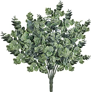 Supla Pack of 3 Faux Eucalyptus Leaves Spray Artificial Greenery Stems Fake Silver Dollar Eucalyptus Branches Plants in Dusty Green 14.6