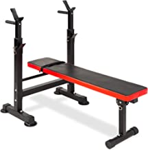 Best Choice Products Adjustable Folding Fitness Barbell Rack & Weight Bench Set for Home Gym, Strength Training w/Incline & Decline Capability, Padded Faux Leather, Easy Storage - Black/Red