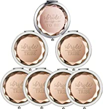 7 Sets Makeup Pocket Compact Mirror, 1 Bride To Be Makeup Mirror 6 Bride Tribe Makeup Mirrors for Wedding Bridal Shower Bachelorette Party Bridesmaid Proposal Gifts(Champagne)