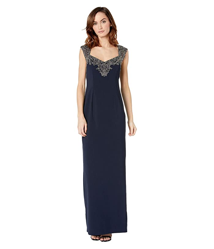 Adrianna Papell Beaded Top Evening Gown (Midnight) Women