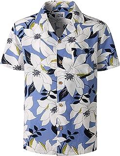 bbf7e2e33 JOGAL Mens Hawaiian Shirt Short Sleeve Flamingo Flower Palms Aloha Shirt  STAG Beach Holiday Casual