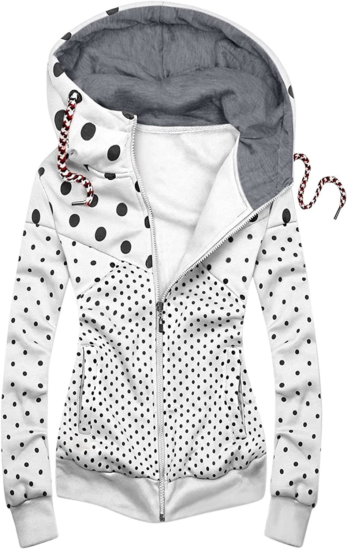 Women Plus Size Pockets Jacket Stitching Style Dot Print Zipper Sweatshirt Hooded Winter Outdoor Hiking Outwear