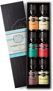 P&J Trading Summer Set of 6 Premium Grade Fragrance Oils - Peach, Strawberry, Plumeria, Coconut, Ocean Breeze, Pina Colada - 10ml