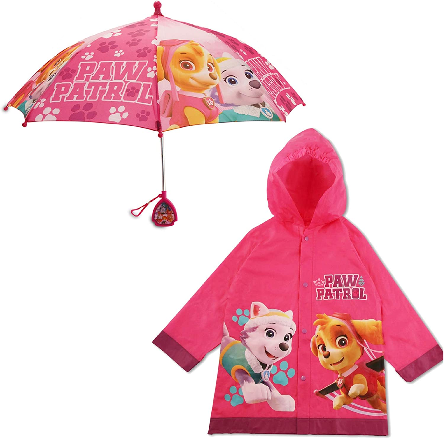 Nickelodeon Kids Umbrella and Slicker, Paw Patrol Toddler and Little Girl Rain Wear Set, for Ages 2-7