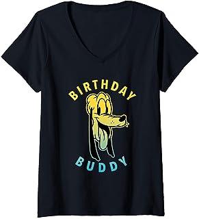 Femme Disney Mickey and Friends Pluto Birthday Buddy T-Shirt avec Col en V
