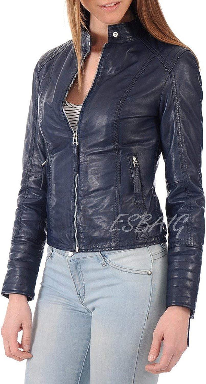 ESBAIG Womens Leather Jackets Stylish Motorcycle Bomber Biker Real Lambskin Leather Jacket for Women 505