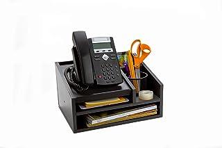 $29 » Mind Reader MDFBOX5-BLK Office Desk 5 Compartments with Letter Tray Phone Stand Pen Pencil Holder, Desktop Organization, File Sorter, Black Wood