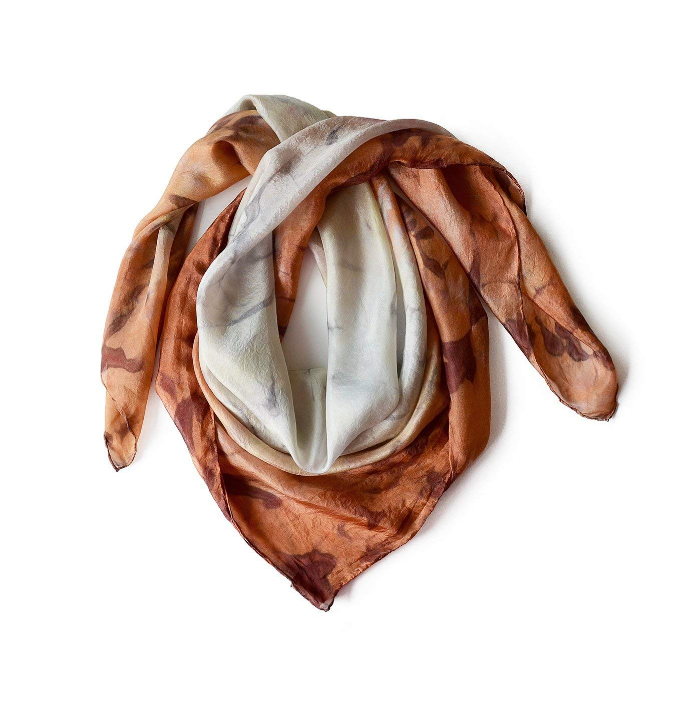 Brown Square little Silk Scarf Hand At the price of surprise one natural Max 60% OFF silk on Painted