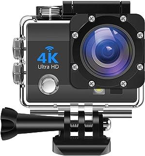 IDEER 4K Action Camera 16MP Vision Sport Camera, Ultra HD WiFi Waterproof Camera, 170° HD Wide Angle Lens Underwater Cam w...