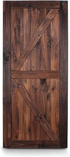"high quality BELLEZE 36"" x 84"" Unfinished Sliding Barn Door high quality Solid Knotty Pine Wood DIY outlet sale K-Frame Double Side Single Door, Espresso online"